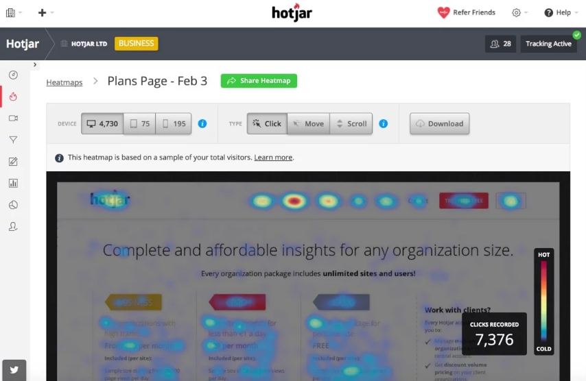 Hotjar offers for tracking your website performance whoch helps you in feature prioritization